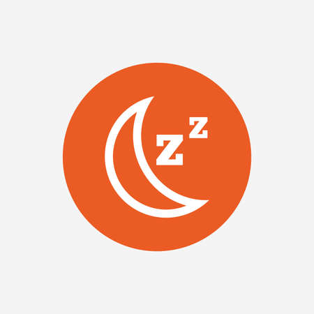 standby: Sleep sign icon. Moon with zzz button. Standby. Orange circle button with icon. Vector