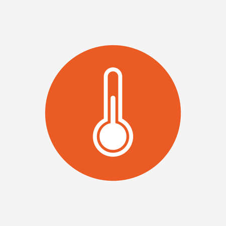 hotness: Thermometer sign icon. Temperature symbol. Orange circle button with icon. Vector