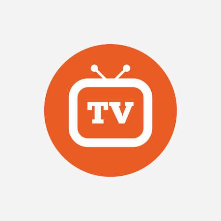 retro tv: Retro TV sign icon. Television set symbol. Orange circle button with icon. Vector