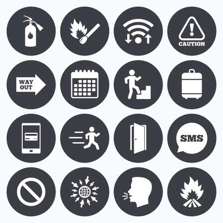 burn out: Wifi, calendar and mobile payments. Fire safety, emergency icons. Fire extinguisher, exit and attention signs. Caution, water drop and way out symbols. Sms speech bubble, go to web symbols. Illustration