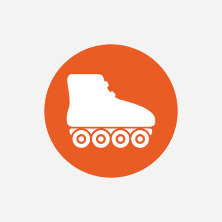 rollerblades: Roller skates sign icon. Rollerblades symbol. Orange circle button with icon. Vector