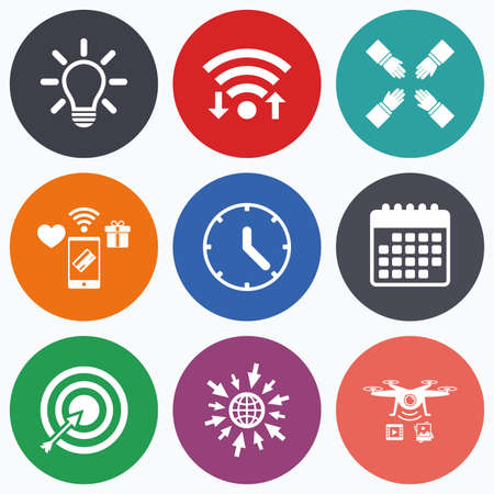 set the intention: Wifi, mobile payments and drones icons. Lamp idea and clock time icons. Target aim sign. Darts board with arrow. Teamwork symbol. Calendar symbol.