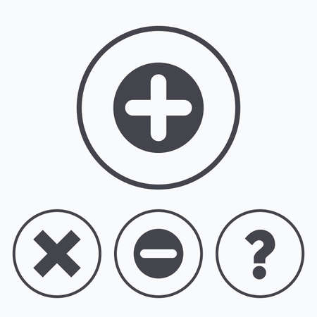enlarge: Plus and minus icons. Delete and question FAQ mark signs. Enlarge zoom symbol. Icons in circles.
