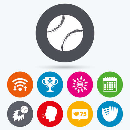 crosswise: Wifi, like counter and calendar icons. Baseball sport icons. Ball with glove and two crosswise bats signs. Fireball with award cup symbol. Human talk, go to web.