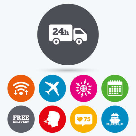 counter service: Wifi, like counter and calendar icons. Cargo truck and shipping icons. Shipping and free delivery signs. Transport symbols. 24h service. Human talk, go to web. Illustration