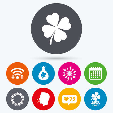 quatrefoil: Wifi, like counter and calendar icons. Saint Patrick day icons. Money bag with clover sign. Wreath of quatrefoil clovers. Symbol of good luck. Human talk, go to web. Illustration