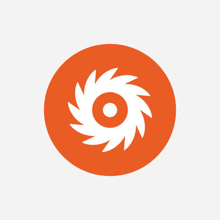 cutting blade: Saw circular wheel sign icon. Cutting blade symbol. Orange circle button with icon. Vector