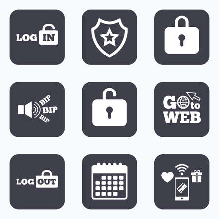 lock out: Mobile payments, wifi and calendar icons. Login and Logout icons. Sign in or Sign out symbols. Lock icon. Go to web symbol.