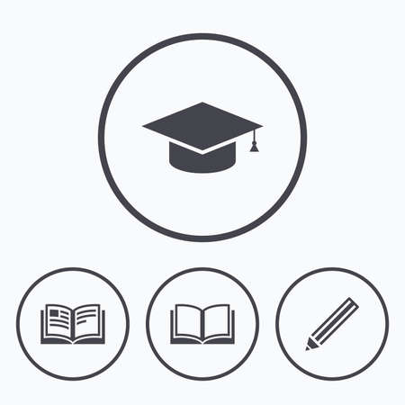 higher education: Pencil and open book icons. Graduation cap symbol. Higher education learn signs. Icons in circles.
