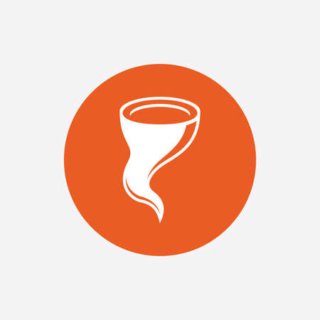 hurricane disaster: Storm sign icon. Gale hurricane symbol. Destruction and disaster from wind. Insurance symbol. Orange circle button with icon. Vector