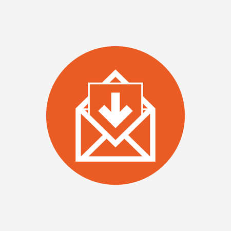 inbox: Mail icon. Envelope symbol. Inbox message sign. Mail navigation button. Orange circle button with icon. Vector