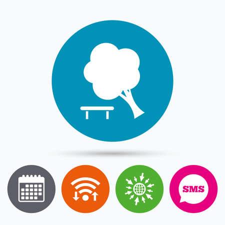 break down: Wifi, Sms and calendar icons. Falling tree sign icon. Caution break down tree symbol. Go to web globe.