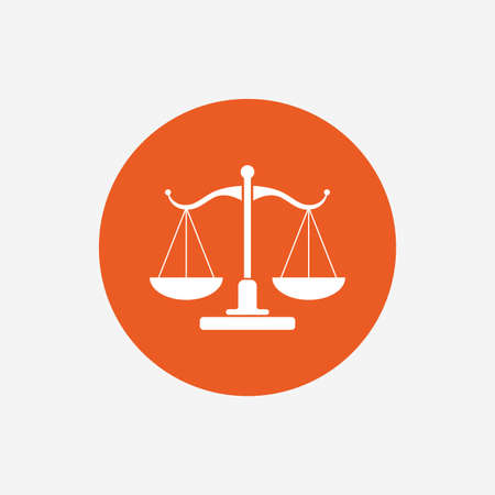 Scales of Justice sign icon. Court of law symbol. Orange circle button with icon. Vector