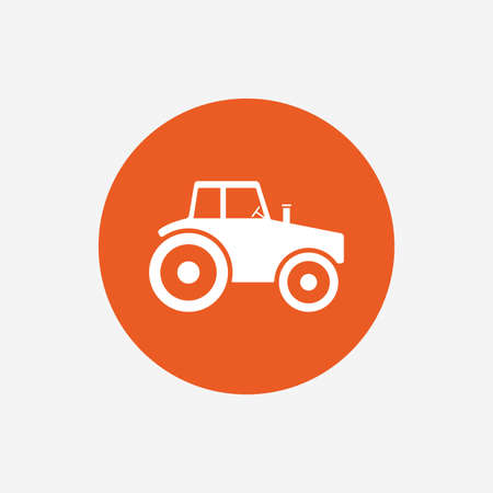 agricultural industry: Tractor sign icon. Agricultural industry symbol. Orange circle button with icon. Vector