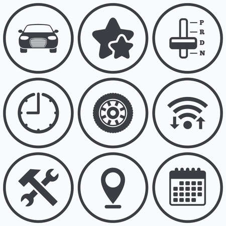 automatic transmission: Clock, wifi and stars icons. Transport icons. Car tachometer and automatic transmission symbols. Repair service tool with wheel sign. Calendar symbol.
