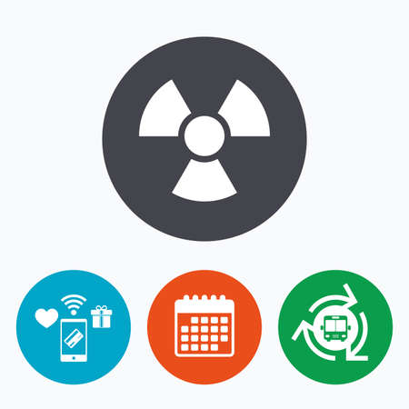 danger of radiation: Radiation sign icon. Danger symbol. Mobile payments, calendar and wifi icons. Bus shuttle.