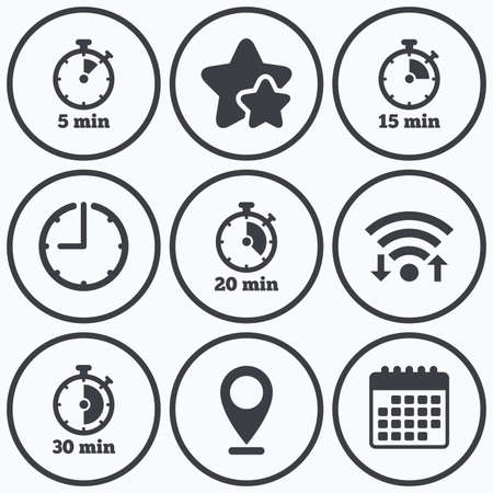 15 20: Clock, wifi and stars icons. Timer icons. 5, 15, 20 and 30 minutes stopwatch symbols. Calendar symbol. Illustration