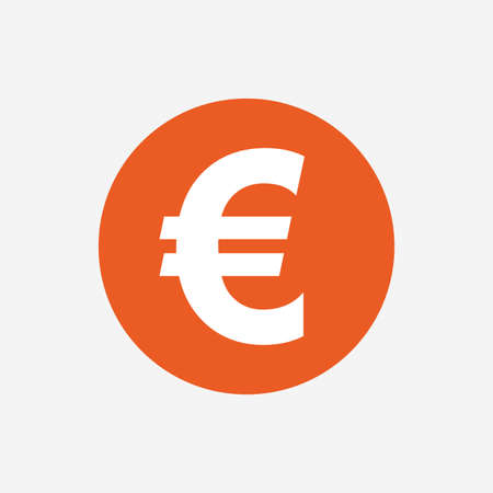 currency symbol: Euro sign icon. EUR currency symbol. Money label. Orange circle button with icon. Vector