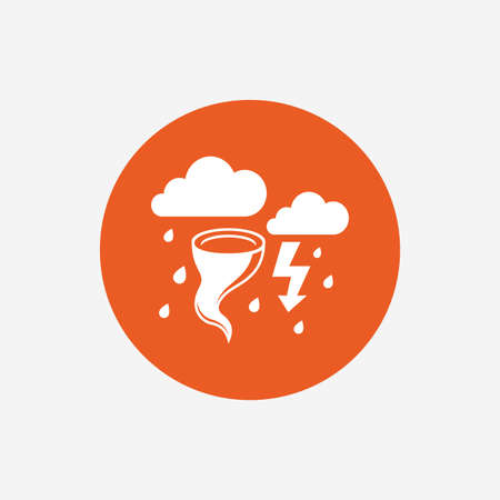 hurricane disaster: Storm bad weather sign icon. Clouds with thunderstorm. Gale hurricane symbol. Destruction and disaster from wind. Insurance symbol. Orange circle button with icon. Vector