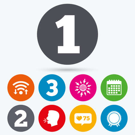 medal like: Wifi, like counter and calendar icons. First, second and third place icons. Award medal sign symbol. Human talk, go to web.