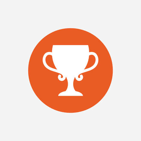 awarding: Winner cup sign icon. Awarding of winners symbol. Trophy. Orange circle button with icon. Vector