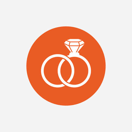 fiance: Wedding rings sign icon. Engagement symbol. Orange circle button with icon. Vector
