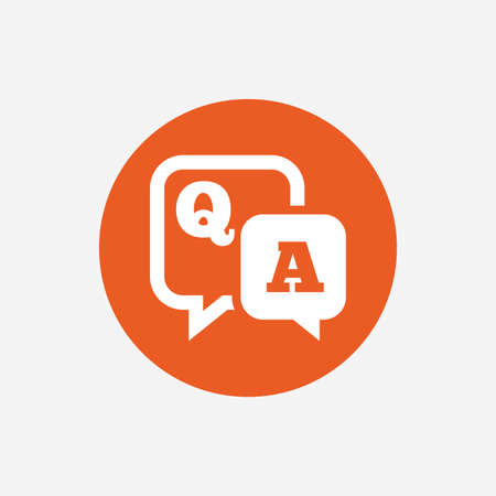 control de calidad: Pregunta icono de señal de respuesta. Q & A símbolo. botón círculo con el icono de color naranja. Vector