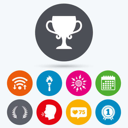 Wifi、カウンターやカレンダー アイコンのような。最初の場所賞カップ アイコンです。ローレル リース看板。トーチ火災炎のシンボル。勝者のための賞。人間の話は、web に移動。