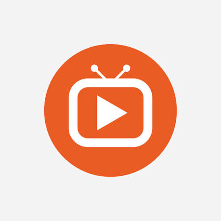 television set: Retro TV mode sign icon. Television set symbol. Orange circle button with icon. Vector Illustration
