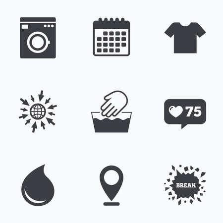 washhouse: Calendar, like counter and go to web icons. Wash machine icon. Hand wash. T-shirt clothes symbol. Laundry washhouse and water drop signs. Not machine washable. Location pointer. Illustration