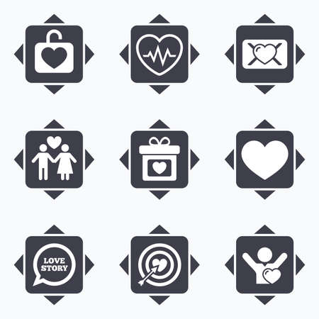 oath: Icons with direction arrows. Love, valentine day icons. Target with heart, oath letter and locker symbols. Couple lovers, heartbeat signs. Square buttons. Illustration