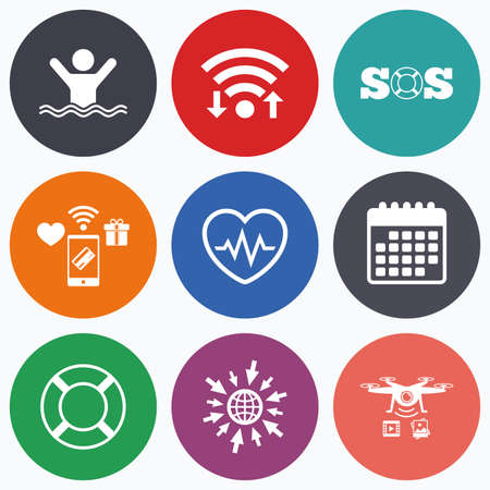 drowns: Wifi, mobile payments and drones icons. SOS lifebuoy icon. Heartbeat cardiogram symbol. Swimming sign. Man drowns. Calendar symbol. Illustration