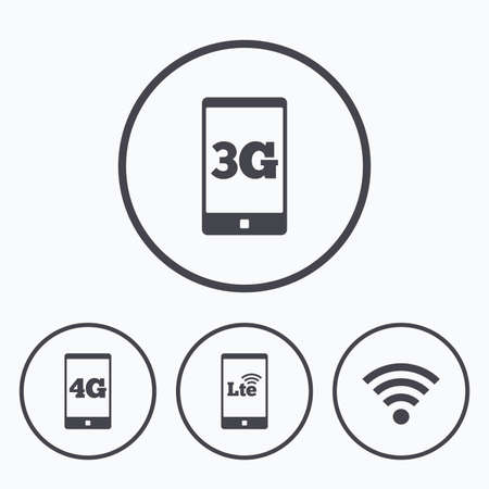 lte: Mobile telecommunications icons. 3G, 4G and LTE technology symbols. Wi-fi Wireless and Long-Term evolution signs. Icons in circles. Illustration