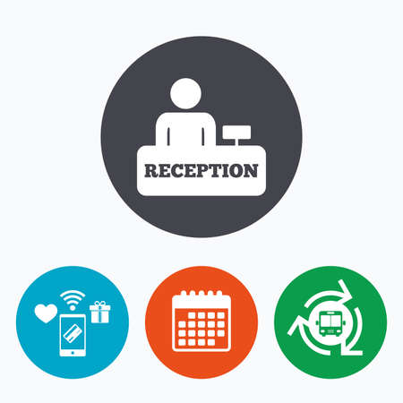 administrator: Reception sign icon. Hotel registration table with administrator symbol. Mobile payments, calendar and wifi icons. Bus shuttle.
