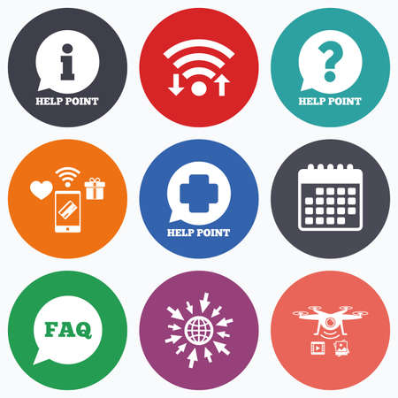 medical questions: Wifi, mobile payments and drones icons. Help point icons. Question and information symbols. FAQ speech bubble signs. Calendar symbol.