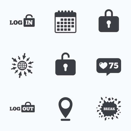 lock out: Calendar, like counter and go to web icons. Login and Logout icons. Sign in or Sign out symbols. Lock icon. Location pointer. Illustration