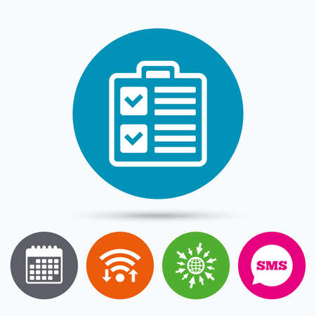 poll: Wifi, Sms and calendar icons. Checklist sign icon. Control list symbol. Survey poll or questionnaire form. Go to web globe. Illustration