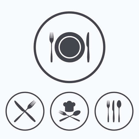 etiquette: Plate dish with forks and knifes icons. Chief hat sign. Crosswise cutlery symbol. Dining etiquette. Icons in circles. Illustration