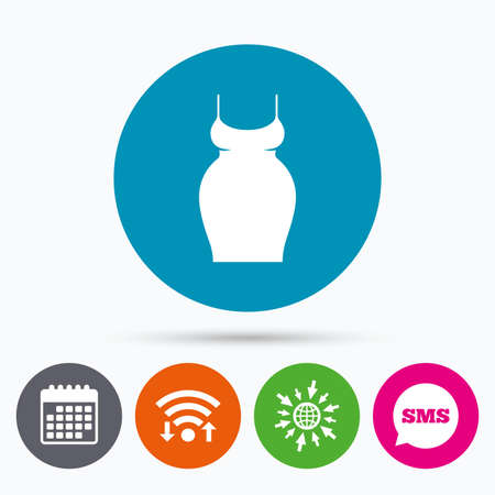 big breast: Wifi, Sms and calendar icons. Pregnant woman dress sign icon. Maternity clothing symbol Go to web globe.