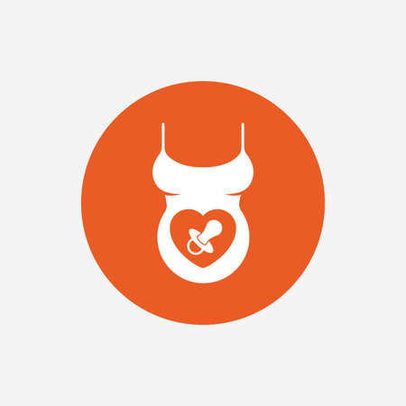 big breast: Pregnant woman shirt sign icon. Baby on board with dummy. Maternity symbol Orange circle button with icon. Vector