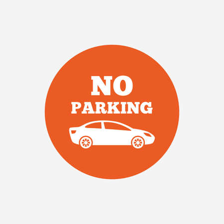 no parking sign: No parking sign icon. Private territory symbol. Orange circle button with icon. Vector Illustration