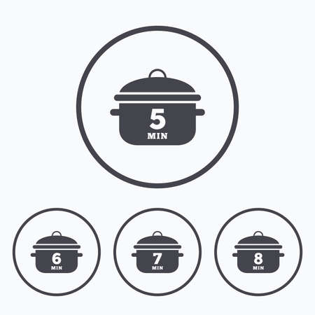 6 7: Cooking pan icons. Boil 5, 6, 7 and 8 minutes signs. Stew food symbol. Icons in circles. Illustration