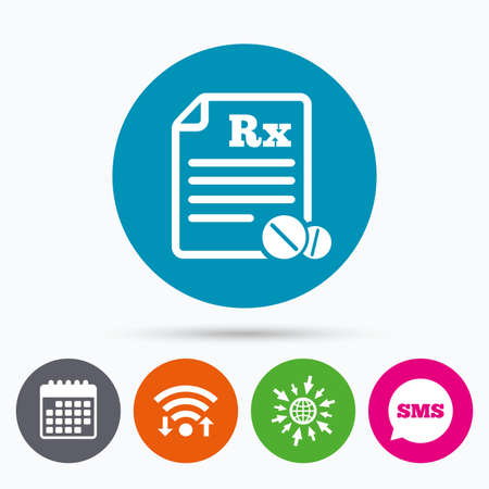 rx: Wifi, Sms and calendar icons. Medical prescription Rx sign icon. Pharmacy or medicine symbol. With round tablets. Go to web globe. Illustration