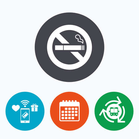 quit: No Smoking sign icon. Quit smoking. Cigarette symbol. Mobile payments, calendar and wifi icons. Bus shuttle.
