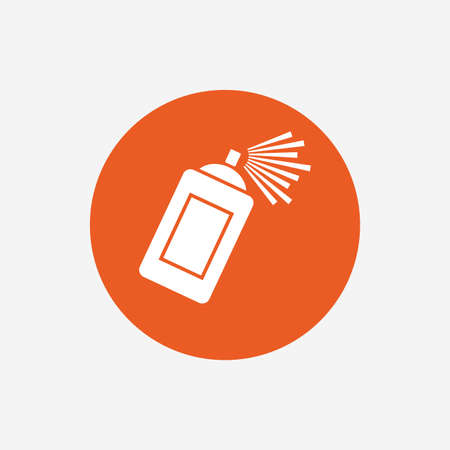 aerosol can: Graffiti spray can sign icon. Aerosol paint symbol. Orange circle button with icon. Vector Illustration