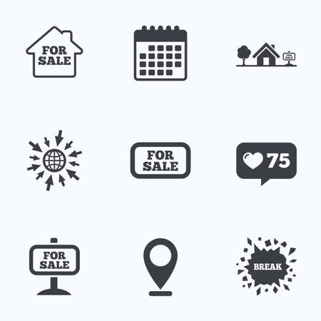 house for sale: Calendar, like counter and go to web icons. For sale icons. Real estate selling signs. Home house symbol. Location pointer.