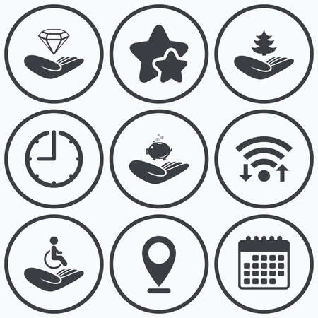 best shelter: Clock, wifi and stars icons. Helping hands icons. Protection and insurance symbols. Financial money savings, save forest. Diamond brilliant sign. Disabled human. Calendar symbol.