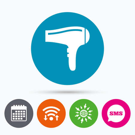 blow drying: Wifi, Sms and calendar icons. Hairdryer sign icon. Hair drying symbol. Go to web globe.