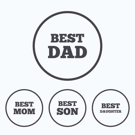 dad son: Best mom and dad, son and daughter icons. Award symbols. Icons in circles.