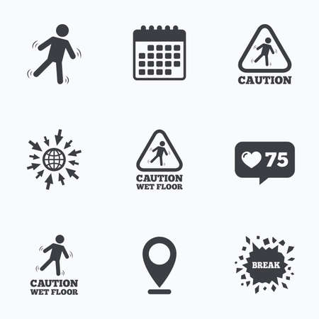 slippery floor: Calendar, like counter and go to web icons. Caution wet floor icons. Human falling triangle symbol. Slippery surface sign. Location pointer. Illustration